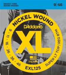 D`ADDARIO EXL125 NICKEL WOUND SUPER LIGHT TOP/ REGULAR BOTTOM 9-46