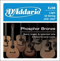 D`ADDARIO EJ38 12-STRING PHOSPHOR BRONZE LIGHT 10-47